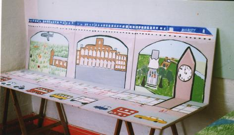 Hanwell Community Centre Summer Mural Project, August 1998. Theme of past and present, an artistic production directed and co-produced by 'Making Murals: Art for and by the Community. Were you there?