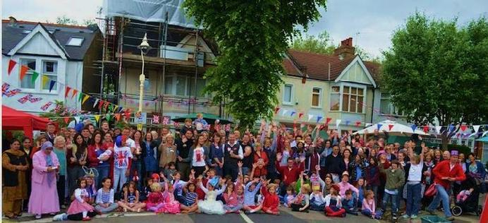 Community street art, 'diamonds and butterflies' for the 2012 Jubilee Party, directed and co-produced with the children of Windermere Road, Ealing, West ondon
